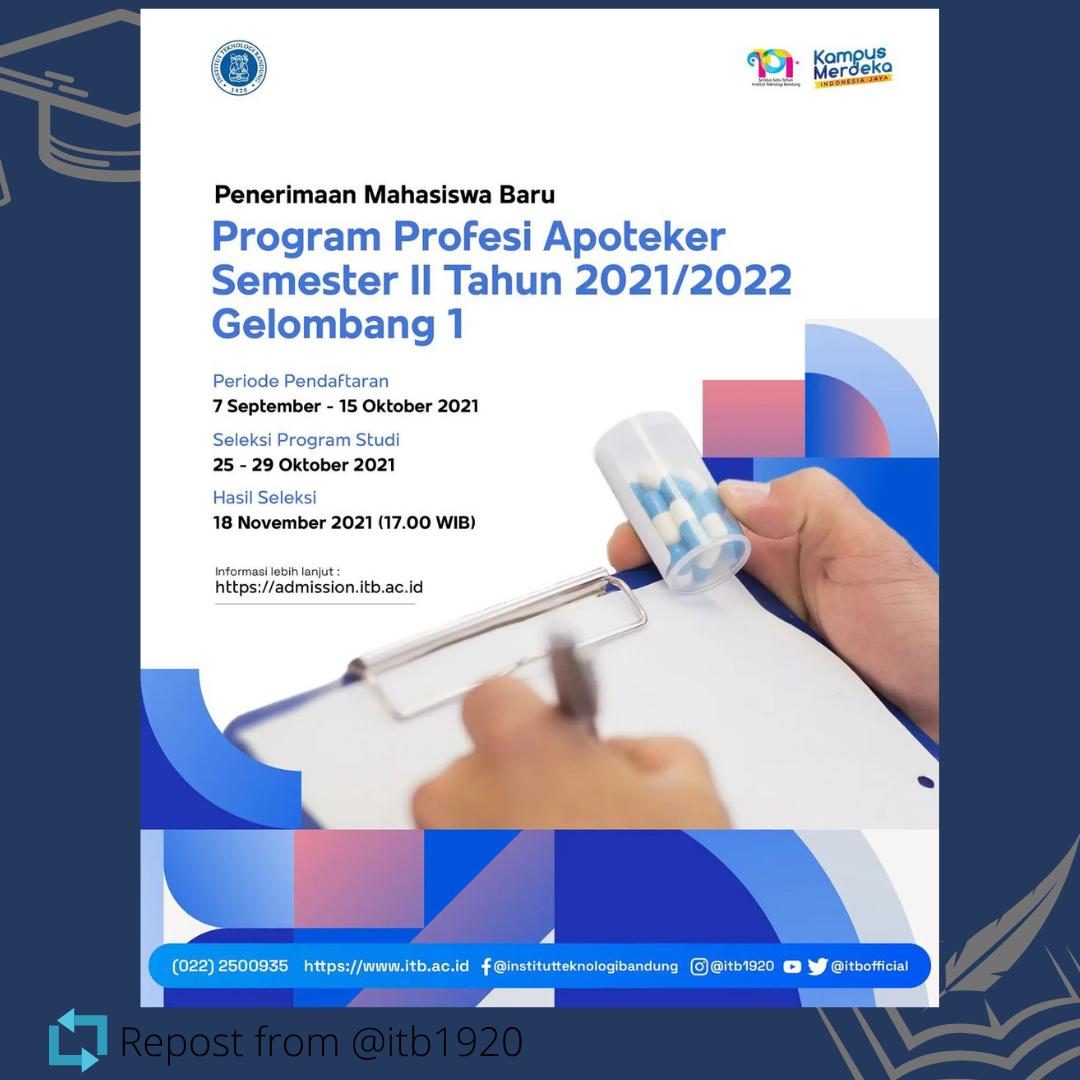Penerimaan Mahasiswa Baru Program Profesi Apoteker Semester II Tahun 2021/2022 – Gelombang 1